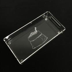 Plateau en acrylique 4 mm incolore 137/275/50 mm, personnalisable (envoyez nous votre demande par mail)