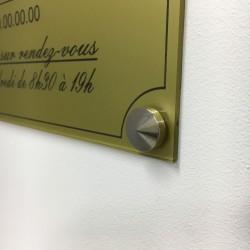 Cache vis conique laiton chromé Ø 18 mm (lot de 4u). Mise en situation sur une plaque de 300 x 200 mm.