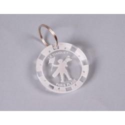Porte clés en acrylique translucide 6 mm x Ø 46 mm